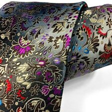 Beautiful Rare 100% Silk Tie Multi-color Silver Grey Floral Paisley New By S & W