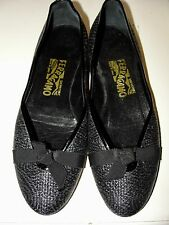 SALVATORE FERRAGAMO*LOVELY!!BLACK BASKET WEAVE BOW FRONT BALLET FLATS SHOES*6.5