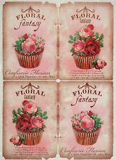 Rice Paper for Decoupage Decopatch Scrapbook Craft Sheet Floral Fantasy Cupcakes