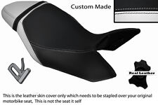 WHITE & BLACK CUSTOM FITS TRIUMPH SPEED TRIPLE 1050 11-13 LEATHER SEAT COVER
