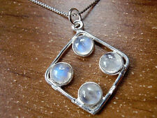 Rainbow Moonstone Four-Gem Necklace 925 Sterling Silver New