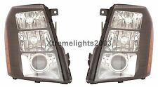 CADILLAC ESCALADE 2007 2008 2009 2010 PAIR BLACK HEADLIGHTS HEAD LAMPS LIGHTS