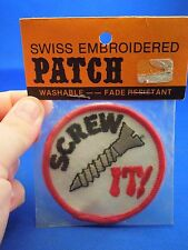Vintage Swiss Brand Screw It! Slogan Washable Embroidered Sew On Patch