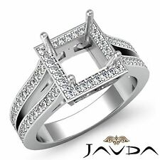0.9Ct Diamond Engagement Princess 18k White Gold Halo Semi Mount Filigree Ring