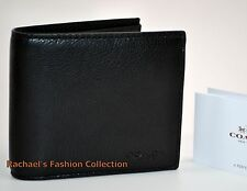 NWT COACH COMPACT ID WALLET IN SPORT CALF LEATHER F74991 BLACK