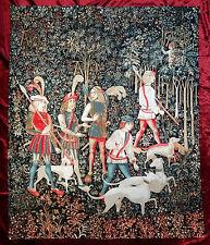 Wandteppich aus Italy Gobelin CACCIA UNICORNO Arazzo Tapisserie JAGD 100x124 cm