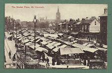 1908 PC THE MARKET PLACE GT. YARMOUTH - STALLS, TRAM, PEOPLE ETC