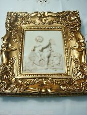 """Framed Stone Wall Plaque in stone compound, """"Angel with Lion"""", gorgeous frame"""