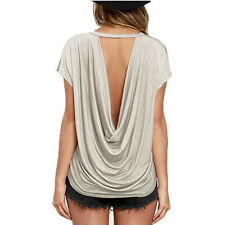 Women Summer Open Back Short Sleeve T Shirt Casual Backless Tops Tees T-Shirt .*