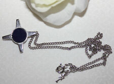 STUNNING CROWN TRIFARI SIGNED SILVERTONE NECKLACE WITH DARK BLUE CIRCLE PENDANT