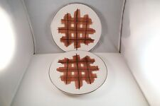 Lovely Pair of Isaac Mizrahi Live Harry Brown Plaid Salad Lunch Plates