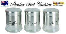 SET OF 3 MILANO CANISTER SET TEA COFFEE AND SUGAR STAINLESS STEEL NEW IN BOX
