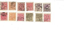 12 Brazil cancelled stamps 1920s+Sao Paulo postmarks good condition var. denoms