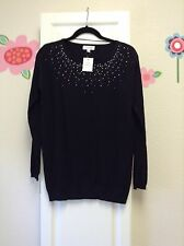 NWT Calvin Klein womens S sweater black with beautiful bling pullover long sleev