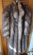 Ladies full length brown with silver tips genuine fox fur coat size S/M by Chloe