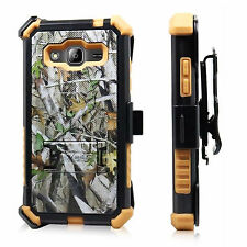 For Samsung Galaxy Sky / J3 Holster Case Kickstand Hybrid Phone Cover Black