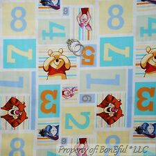 BonEful Fabric FQ Cotton Quilt Winnie the Pooh Baby Boy Nursery Number Patchwork