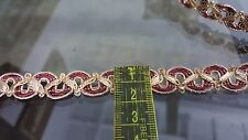 1.5cm- 1 meter Beautiful gold and burgundy braid lace trimming for crafts arts