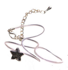 Milky Way Gorgeous Black Star Pendant/chrome & Plastic Chord Necklace(Zx228)