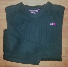 c615 L Olive Green Woven Stripe ABERCROMBIE & FITCH Acrylic Blend Sweater!