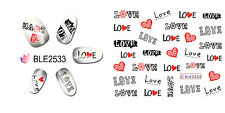 LOVE Writing Letters Hearts Water Transfers Nail Art Stickers Decals