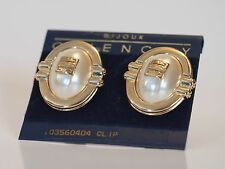 Elegant Gold Toned Vintage Givenchy Signed Sim. Pearl Earrings - Clip On