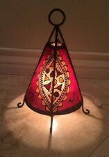 Indian Moroccan Red Black Cream Henna Leather Table Lamp Wrought Iron Beautiful!