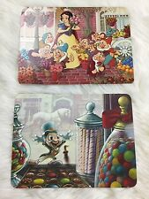 2 Vtg Walt Disney World Postcards Snow White Jiminy Cricket Main Street R5