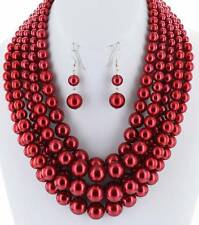 FIVE STRAND LAYERED RED FAUX PEARL GRADUAL CHUNKY NECKLACE EARRING
