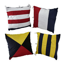 Set of 4 Nautical Signal Flag Decorative Throw Pillows 15 in.