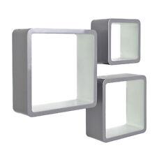3er Set Lounge Cube Regal Design Retro 70er Wandregal Hängeregal Grau NEU
