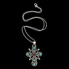 Vintage Southwest Sterling Silver Taxco Mexican Turquoise Cross Pendant Necklace