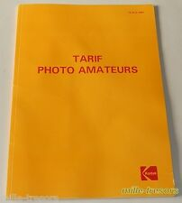 TARIF Professionnel Revendeur KODAK de 1987 - Appareils Photo Films Projecteurs