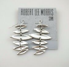 Robert Lee Morris Soho Antique Silver Tone Drop Statement Earrings, NWT