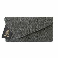 Harris Tweed Asymmetric Black & Charcoal Grey Herringbone Clutch Bag Handbag