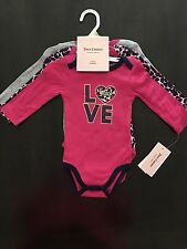 NWT Juicy Couture Baby Girl 3 Pack Long Sleeve Bodysuits  ~ Size 3/6 Months