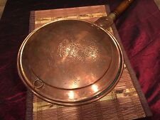 Vintage Heavy Asian Copper Bed Warming Pan W/ Brass Hardware Wood Handle 44""