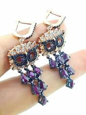 925 STERLING SILVER TURKISH HANDMADE JEWELRY ROSE RUBY OWL EARRINGS E2219