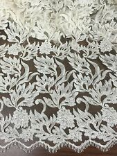 """IVORY MESH W/SEQUINS EMBROIDERY LACE FABRIC 50"""" WiIDE 1 YARD"""