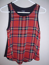 Express Red Plaid ladies sleeveless Tank top with metal stud embellishment Small