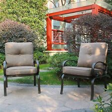 Set of 2 Outdoor Dining Chair Patio Club Seating Chair with Gray Cushions