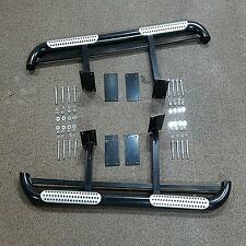 80 Series Landcruiser Side Steps Heavy Duty Black Powder Coated Solid Build 4wd