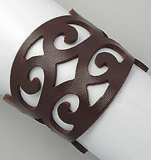 "7-7.5"" GORGEOUS Brown Leather Swirl Cuff Bracelet"