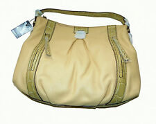 BNWT Maxx New York Genuine Leather Beige Hobo Large Tote Hand Bag with Pockets