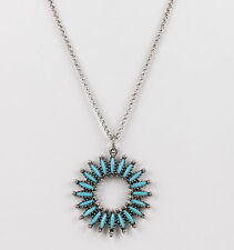 COSTUME FAUX TURQUOISE PENDANT AVERY STERLING CHAIN NECKLACE FASHION 4396