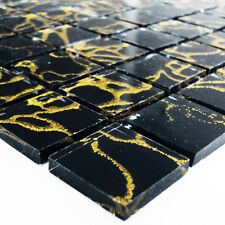 Glass Mosaic Tiles Temple Gold Black 25x25x4mm - 1 Sheet