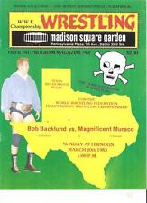 MINT Madison Square Garden Backlund Muraco WWF Wrestling program NWA 1983 Graham
