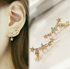 GOLD PLATED CRYSTAL STAR DROP STUD EAR CUFF EARRINGS
