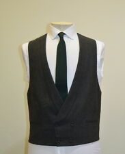 Spencer Hart Savile Row Bespoke Grey Fresco Double Breast Shawl Waistcoat 40