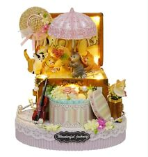 Kit w/ LED Wooden Dollhouse Miniature DIY Xmas Gift Box of Candy Cat 031
